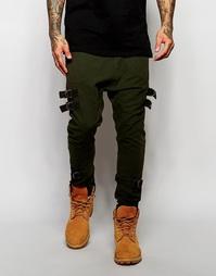 Штаны для бега цвета хаки с заниженным шаговым швом ASOS