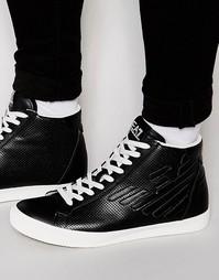 Высокие кроссовки с перфорацией и логотипом EA7 - Черный