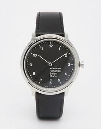 Черные часы 40 мм на кожаном ремешке Mondaine Helvetica - Черный