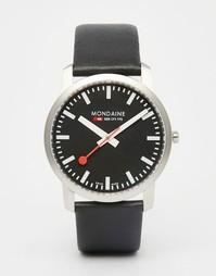 Часы с кожаным ремешком Mondaine, 41 мм - Черный