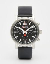 Часы с кожаным ремешком и хронографом Mondaine Evo 40 мм - Черный