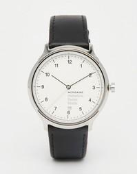 Часы с черным кожаным ремешком и корпусом 40 мм Mondaine Helvetica