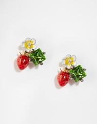 Серьги-гвоздики с клубничками и камнями Bill Skinner - Красный