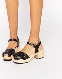 Черные кожаные сандалии на платформе Swedish Hasbeens Marina - Черный