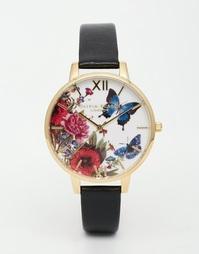 Часы с черным кожаным ремешком Olivia Burton Enchanted Garden - Черный