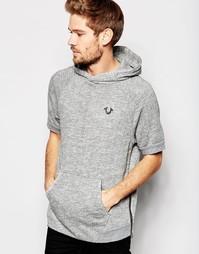 Худи с короткими рукавами и логотипом True Religion - Вереск-серый