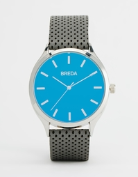 Часы с серым кожаным ремешком с перфорацией Breda Meter - Серый