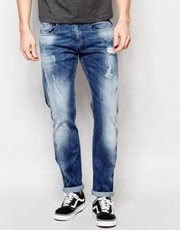 Узкие темные рваные джинсы Replay Anbass - Синий
