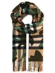 шарф в клетку с камуфляжным принтом  Burberry