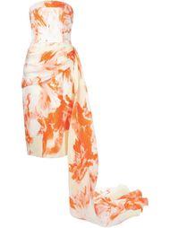 платье без бретелей с цветочным принтом Christian Siriano