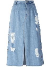 джинсовая юбка с потертой отделкой Steve J & Yoni P