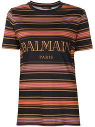 полосатая футболка с логотипом Balmain