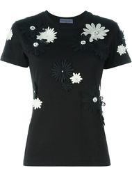 футболка с цветочной аппликацией  Emanuel Ungaro