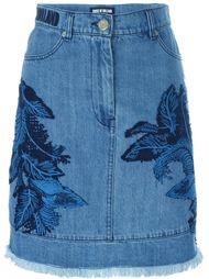 джинсовая юбка с кружевной отделкой House Of Holland