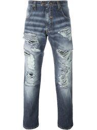 джинсы с рваными деталями   Gabriele Pasini
