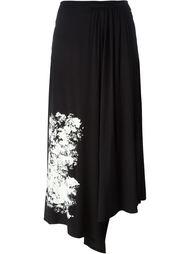 плиссированная юбка с цветочным принтом   Yohji Yamamoto