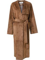 длинное пальто с поясом Loewe