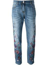 джинсы с цветочной вышивкой  Etro
