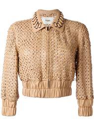 укороченная плетеная куртка Fendi