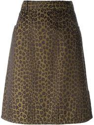жаккардовая юбка с леопардовым принтом Fendi Vintage