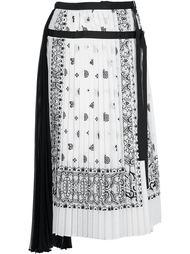 плиссированная юбка с принтом пейсли Sacai