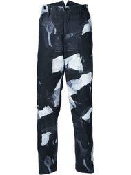 брюки с принтом мазков кисти Yohji Yamamoto