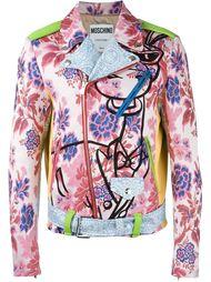 байкерская куртка с цветочным принтом   Moschino