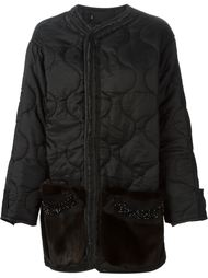 дутое пальто с карманами из меха норки Liska