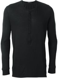 long sleeve henley top Blk Dnm