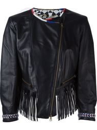 укороченная кожаная куртка с бахромой Bazar Deluxe