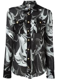 рубашка с мраморным принтом Balmain