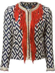 жаккардовый укороченный пиджак с бахромой Bazar Deluxe