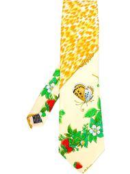 галстук с принтом клубники и бабочек Versace Vintage