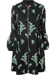 floral embroidered jacquard puff sleeve oversized coat Moncler Gamme Rouge