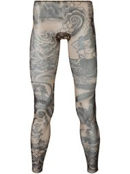 tattoo printed sheer leggings Dsquared2 Underwear