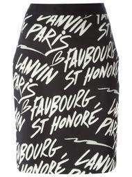 короткая юбка с принтом логотипа Lanvin