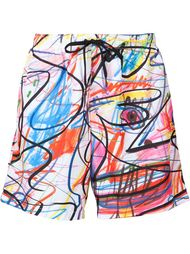 scribble print swim shorts Jeremy Scott