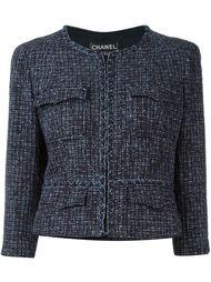 твидовый укороченный пиджак Chanel Vintage