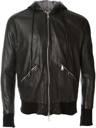 zip up hooded bomber style leather jacket Giorgio Brato