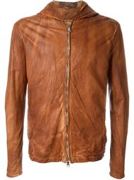 textured zip up hooded leather jacket Giorgio Brato