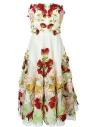 платье с цветочной аппликацией  Alexander McQueen