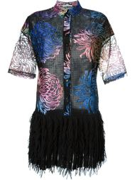 mesh semi sheer floral print drop pleated waist dress Marco De Vincenzo