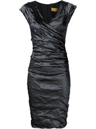 wrap front gathered dress Nicole Miller