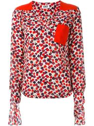 floral print panel detail tie sleeves v neck blouse Sonia By Sonia Rykiel