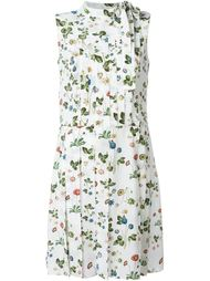 floral print tie neck pleated dress Cacharel