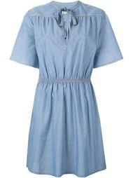 denim panel trim detail tie neck dress Sonia By Sonia Rykiel