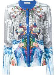 peacock print contrast trim button down cardigan Piccione.Piccione