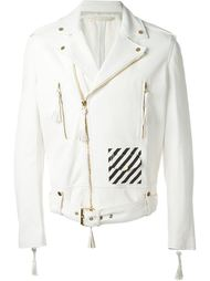 White print contrast panel biker jacket Off-White