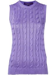 cable knit crew neck tank top Ralph Lauren Purple
