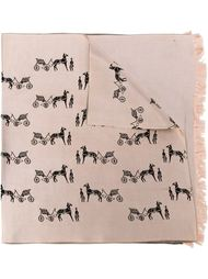 платок с принтом повозок Hermès Vintage